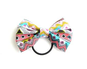 Neon Aztec Ponytail Hair Bow
