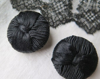 Pair Soutache Buttons/Coat Buttons in Black Set of Two