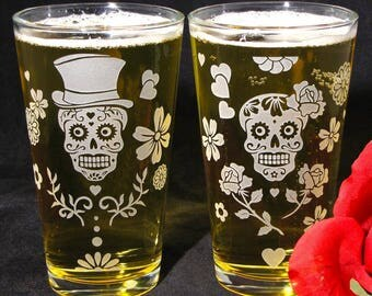 2 Day of the Dead Pint Glasses, Sugar Skull Tumbler Glass Gift for Couple, Mother's Day Present, Etched Glass Drinking Mixing Glass