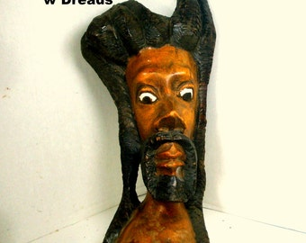 Black CHRIST with Dreads, Primitive Carved Wood Face, 1970s Free Standing Sculpture, Painted Also, Ja Mon, Long Braided Hair on Man