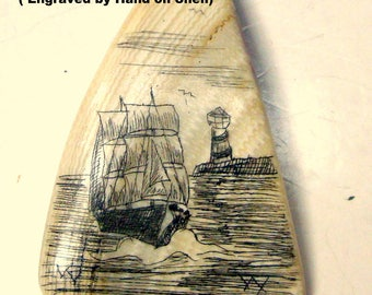 Nautical Scrimshaw Ship & Lighthouse Pendant on Chain, Real Etched Shell Shard , Engraved by Hand