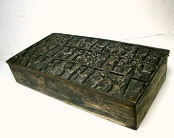 Figural Frieze Metal Jewelry Box, Handsome Silver Patina Hinged Table Stash, Mens,  People, Goats n Donkeys, Trinket Box,  1960s