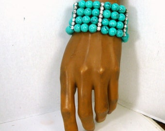Turquoise Glass Stretch Bracelet, White Rhinestones on SILVER Separators, Stretch Sample, 4 Rows Beads