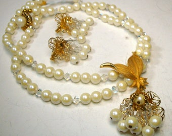 White Pearl Necklace and Earrings Set, Gold Flower Bead Tassels with Aurora Crystal Beads, 1970s Glam Wedding Something Old Jewelry