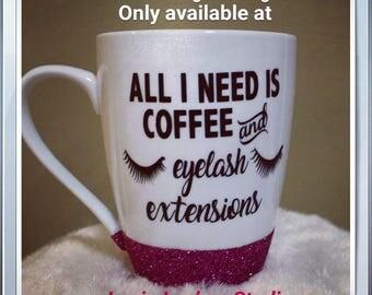 Coffee and Eyelash Extensions handmade mug- pink glitter
