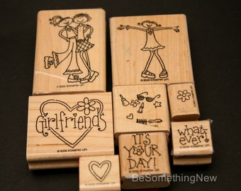 Girlfriends Stampin Up Wood Rubber Stamps from 2002, Used Rubber Stamp Set