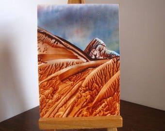 ACEO Abstract Mountain - Encaustic (Wax) Original Art - Rust, Brown Hills - Collectible Art - SFA (Small Format Art)