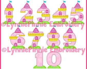 Castle Applique Embroidery Numbers Set  4 sizes Machine Embroidery