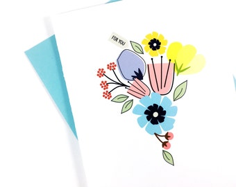 Mothers Day Card, Thank You Card, All Occasion Spring Flower Card, Floral Stationery, Single Greeting Card for Mom Just Because, Blank Card