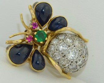 Large Platinum 14k Insect Bug Pendant - Brooch with Sapphires Emerald Rubies & Diamonds