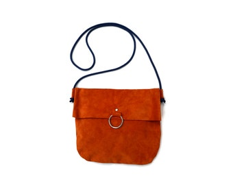 Fold Over Orange Suede Bag. Small Suede Clutch with Tassel -Unida-