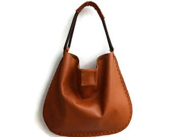 Large Leather Shoulder Bag in Ginger Brown. Leather Shopping Bag. Boho Tote Bag.  Womens Gift. Gift for Her. Bohemian Bag. -Mesmerical-