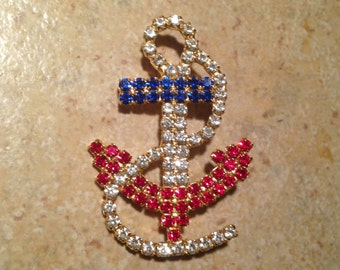 Red, White, and Blue Anchor Rhinestone Brooch