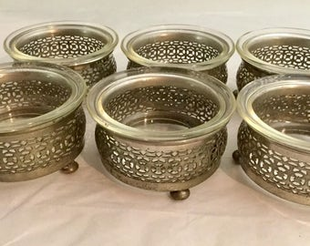 Set of Six, Vintage, Royal Rochester, Silver, Glass, Berry, Dessert Bowles
