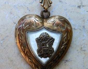 Antique military heart necklace MOP gold layered locket etched vintage jewelry rose gold DAR