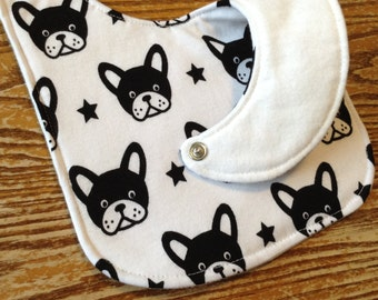 Boston Terrier Reversible Baby Bib, Cotton Knit, Flannel and Batting, Black and White.  Triple Layer, Snap Closure, ready to ship