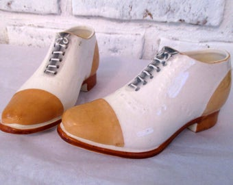 Vintage Porcelain Shoes Pair of Miniature Ceramic Oxfords Tan White Made in Japan