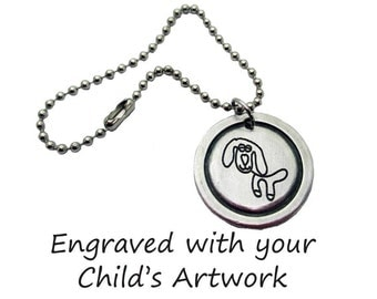 Custom Child's Artwork Madeline Purse Charm engraved with your child's drawing or artwork, Fine Pewter