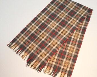Vintage Pendleton Wool Scarf / Plaid Scarf / Tan, Gray, Red