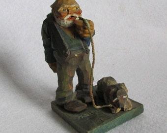 c1920-30s Folk Art Wood Carving of a Man with Dog, Original Paint