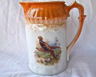 Vintage Bavarian RCW Golden Lustre Ware Ceramic Milk Cream Pitcher Pheasant Decal Cream Vintage Home and Living Vintage Kitchen Collectable