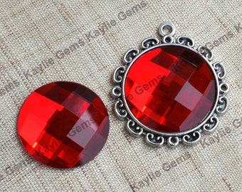 New - Mirror Glass Cabochon cab 25mm Round Checker Cut Faceted Dome -Ruby - 2pcs