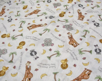 Jungle Animal Fabric with Adorable Animals by Springs Creative 1 1/2 yard  Last of the Bolt
