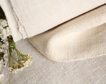 RW 503 : antique handloomed laundered 19.29 yards french 리넨 two-toned upholstering curtain projects wedding PALE NATURAL