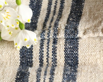 B 532 : antique handloomed DEEP SEE BLUE  grain sack for pillows cushions runners upholstering projects 44.88 inches long, 리넨 , vintage