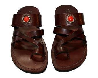 Brown Decor Bath Leather Sandals For Men & Women (red Stone) - Handmade Unisex Flip Flop Sandals, Jesus Sandals, Genuine Leather Sandals