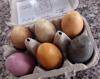 6 goat milk soap eggs in carton