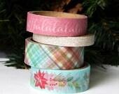 Christmas Washi Tape, Plaid, Poinsettia, Glitter, Fa La La Tape . 4 rolls