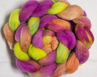 18.5 Merino 70%, Tussah Silk 30,  hand painted combed top, spinning wool, fibre, Felting, Arctic Willow B
