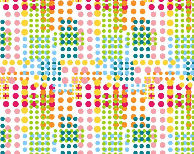 Waterfall Dots Fabric by Ellen Medlock - 1 Yard Multi-color Dot Geometric Circles Quilting Sewing Cotton Fabric(#928B)