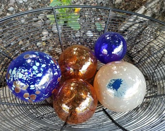 """Blue & Copper Floats, Set of Five 2.5"""" to 3.5"""" Blown Glass Floats, Sturdy Decorative Glass Balls by Avalon Glasswork"""