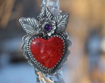 Red Coral Sacred Heart Ring