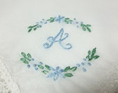 Personalized hanky, wedding handkerchief, monogram hankie, gift for bride, something blue hanky, bridal gift, daisy swag, hand embroidered