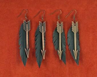 Vegan Feather Bike Tube + Arrow Earrings