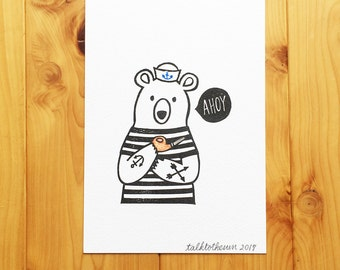 sailor bear art print. ahoy block print. children room wall art.  holiday gifts. stamped and colored illustration. A5 size