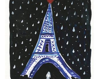 Wall art, Paris painting, Eiffel Tower, Original Painting, 8x8 inches, Gouache Painting, folk art, Paris at night