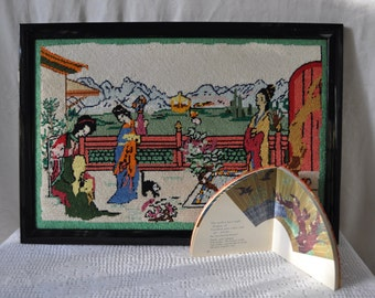 Japanese Tea House Needlepoint Picture/Vintage c. 1970s/Geishas In A Garden