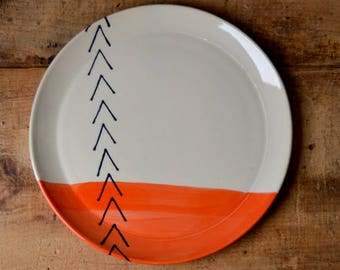 SALE! Serving plate / platter / tray in Orange Arrows (flared edge) Ready To Ship