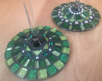 Hand made mosaic wine glass. Pair of two in shades of Green.