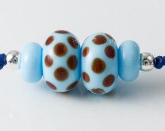 Turquoise Spotty Lampwork Bead Set