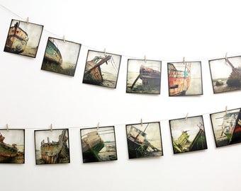 "Boat wrecks Postcards SET - TWELVE 5,5""x5,5"" Fine Art Postcards"