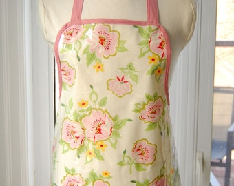 Church Flowers Vinyl Apron -  wipe clean and waterproof apron - fabric with clear vinyl covering