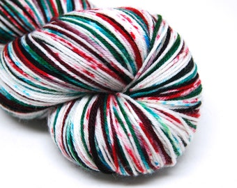 "DYED TO ORDER - Hardcore Sock Yarn - ""Twisted Peppermint"" - Handpainted Superwash Merino - 463 Yards"