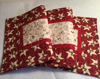 Christmas Quilted Table Runner, Snowman Quilted Table Runner Red White, Quilted Christmas Runner