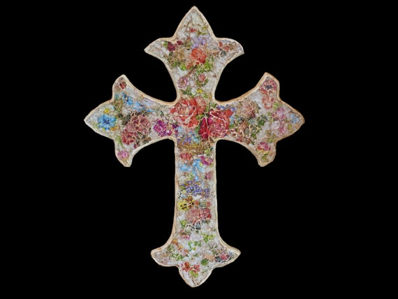 Victorian, Cottage Chic, Shabby Mosaic Cross, with Vintage Rose Lithographs Ready to Ship