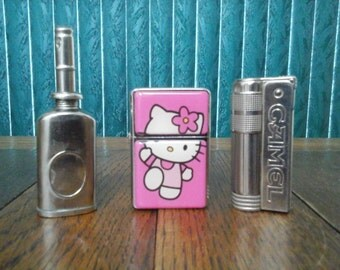 Vintage Camel Flip Top Lighter With Extras